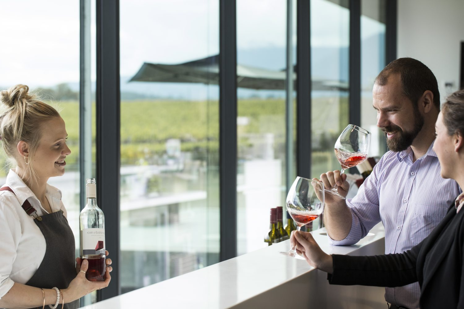 Share our warm, friendly atmosphere and spectacular views while you enjoy a tasting of our award winning wines.